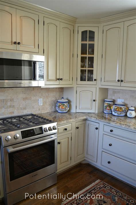 lighter and brighter kitchen in linen paint and brown glaze effects general