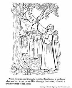 jesus teaches coloring pages zacchaeus climbs a tree to see jesus bible printables