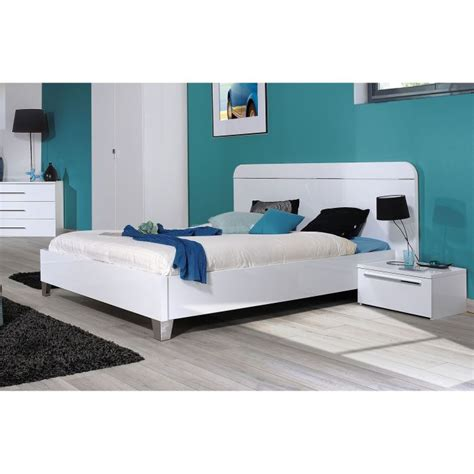 cdiscount chambre adulte lit adulte 140 x 190 laqué blanc achat vente