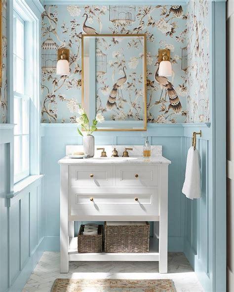 blue  white powder room traditional home decor white
