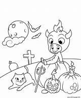 Coloring Halloween Devil Cat Little Pages Cute Pumpkins Printable Print sketch template