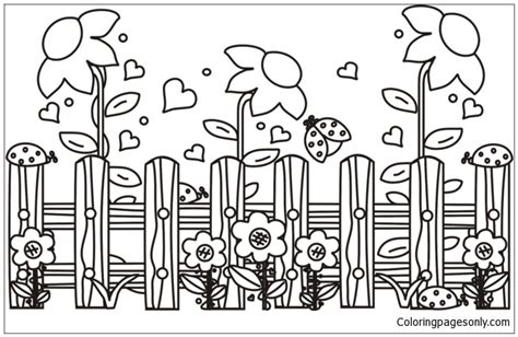 garden scene coloring page  coloring pages