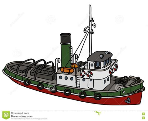 Tugboat Outline by Tugboat Illustrations Vector Stock Images