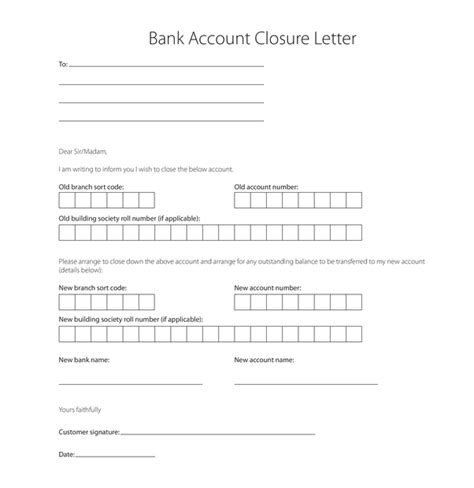 write  letter   bank  close bank account