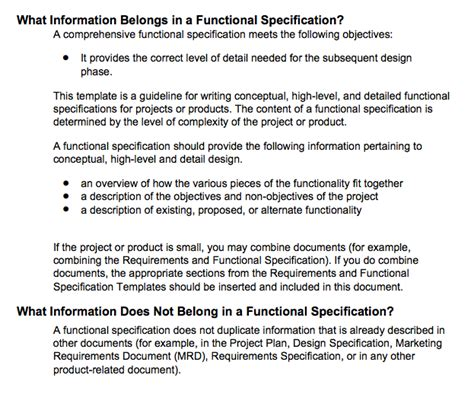 technical specification document template a practical approach to functional specifications documents