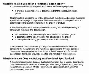 a practical approach to functional specifications documents With functional specification document template