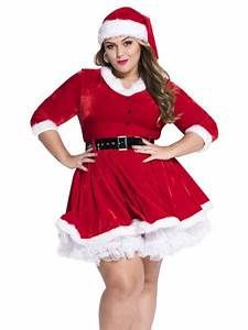 Size Chart 2 Pieces Half Sleeves Plus Size Womens Santa Outfit Red White