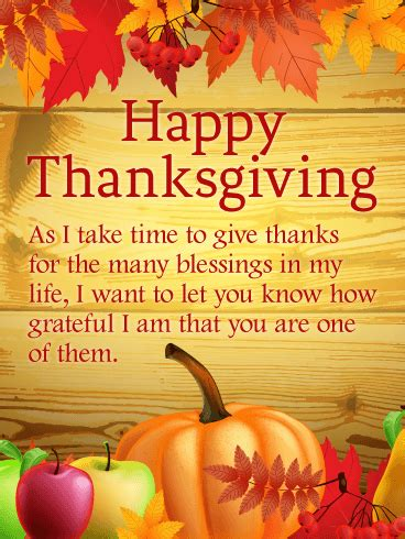 blessings happy thanksgiving card