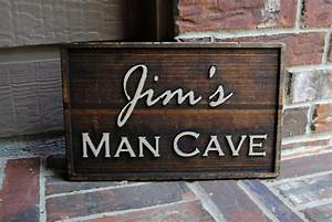 9, U2033x15, U2033, Custom, Man, Cave, Carved, Wood, Sign, U2013, Personalized, With, Painted, Details, U2013, Etsy, Finds