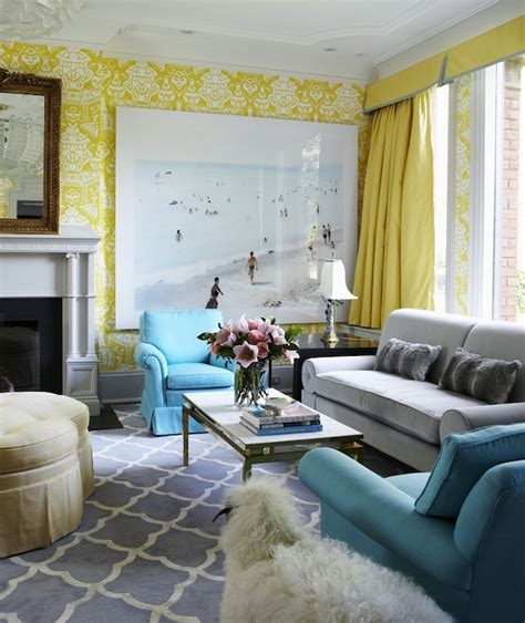 Yellow Gray And Turquoise Living Room by Acrylic Paper Sorter Contemporary S Room