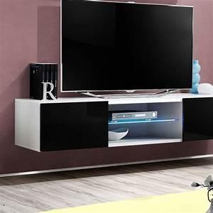 Meuble Design Tv Mural : meuble tv mural design fly iii 160cm noir blanc ~ Teatrodelosmanantiales.com Idées de Décoration