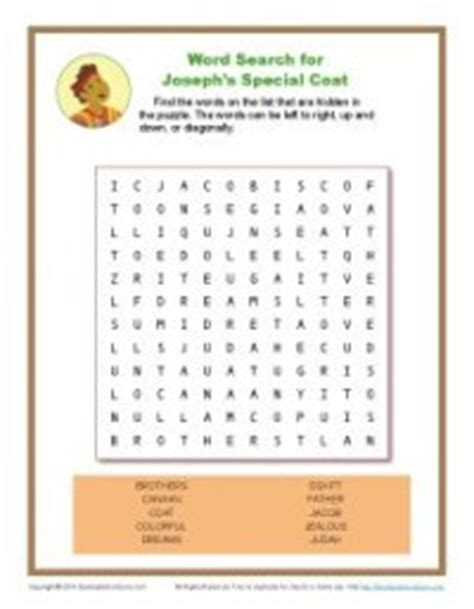josephs special coat word search bible activity pages  kids