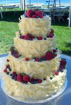 red white  blue wedding cake  fresh fruit