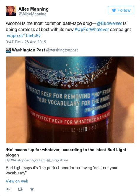 bud light slogan budweiser was forced to apologise after this unsavoury