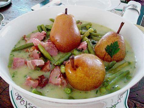 Birnen Bohnen Speck Traditionell Birnen Bohnen Und Speck Rezept Mit