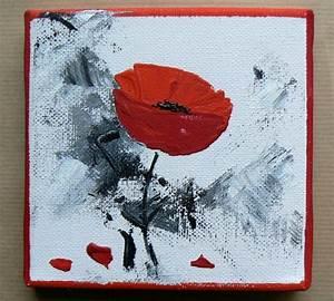 acrylique sur toile coquelicot rouge peinture tableau With peinture glycero sur acrylique