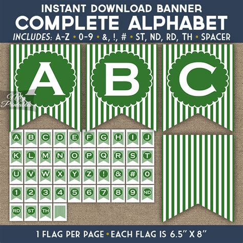alphabet party banner green white stripe nifty printables