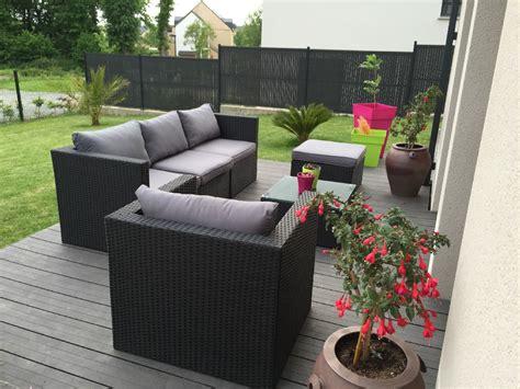 salon de jardin tresse carrefour salon de jardin r 233 sine tress 233 e aluminium 5 places benito