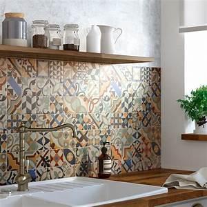 Carreau De Ciment Mural Cuisine : patchwork de carreaux de ciment pour la cr dence leroy merlin ~ Louise-bijoux.com Idées de Décoration