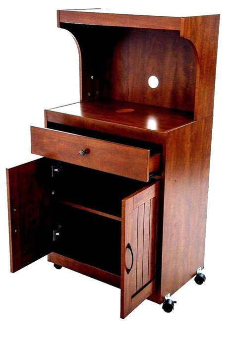 kitchen Microwave Cart Stand Cabinets Storage Wood Shelves