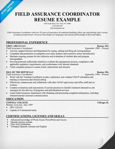 Field Resume Exle by Field Safety Coordinator Resume Template 28 Images 16