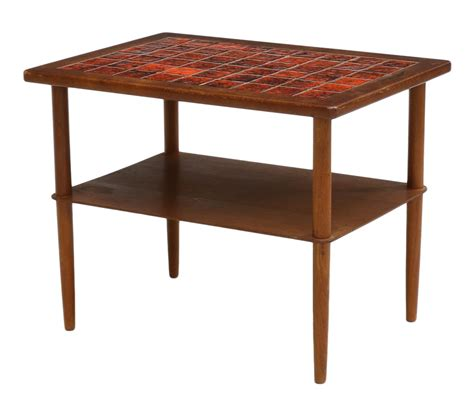mid century modern tile top side table important