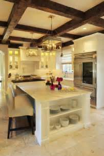 White Island Kitchen by Chic Design Trend Exposed Beams