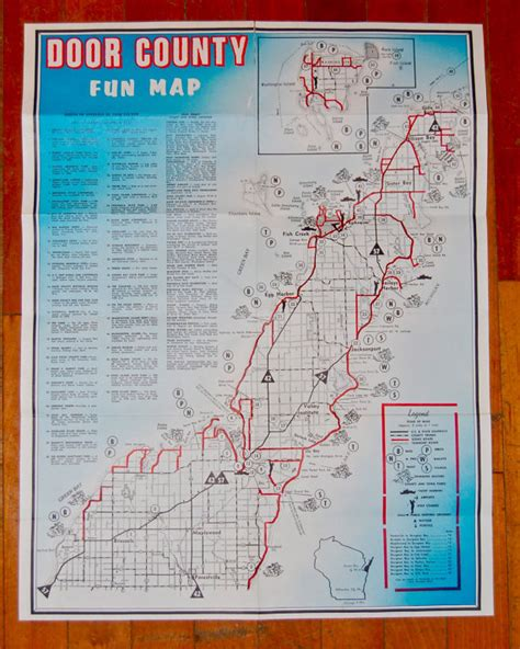 items similar to vintage map of in door county