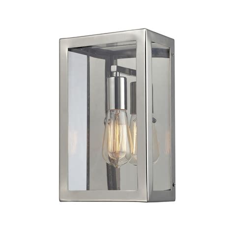 retro wall sconce with clear glass in polished chrome