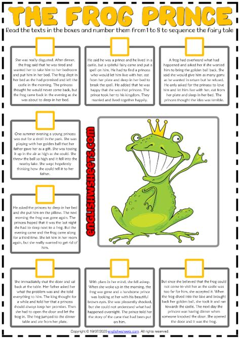 frog prince esl sequencing  story worksheet