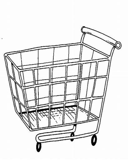 Coloring Cart Pages Shopping Trolley Drawing Grocery