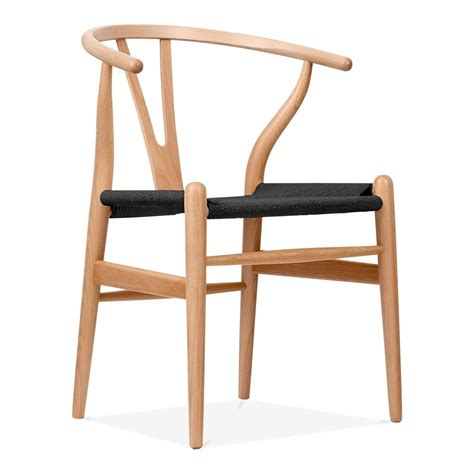 hans wegner style wood wishbone chair with black