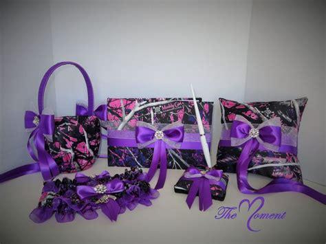 Muddy Girl Camo Garter Set Purple Garter Wedding Garter