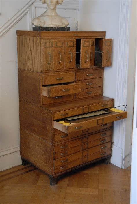 ebay bureau antique oak library bureau sole makers filing cabinet