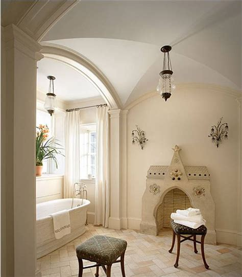 [8 master bath stand alone porcelain tub barrel vaulted