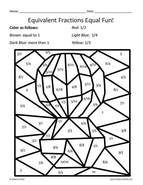 free coloring pages of fractions puzzle