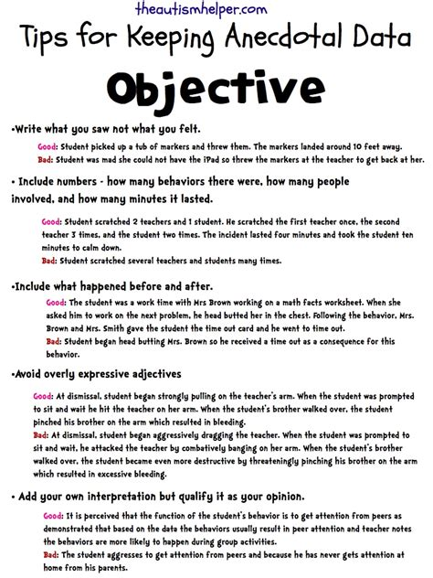 anecdotal notes keeping it objective writing accurate anecdotal data reports the autism helper