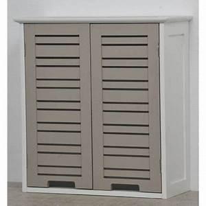 Meuble Haut Toilette : element haut 2 portes taupe miami achat vente ~ Dallasstarsshop.com Idées de Décoration