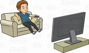 A Man Kills Time By Watching Television Cartoon Clipart ...