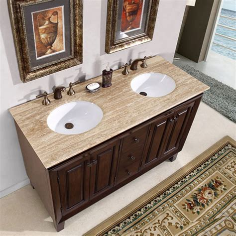 55 Inch Small Furniture Style Double Sink Vanity with