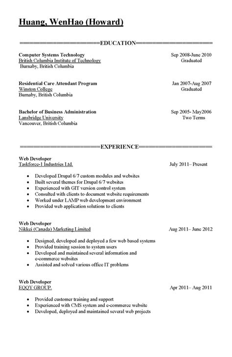 Education Part Of A Resume by R 233 Sum 233 Part 2 171 Howard Huang Vancouver Website Developer