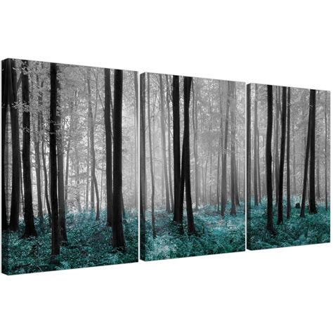 set of three canvas art of teal forest trees prints
