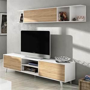 Meuble Tv Scandinave But : zaiken plus meuble tv scandinave blanc brillant et d cor ch ne l 180 cm achat vente meuble ~ Teatrodelosmanantiales.com Idées de Décoration
