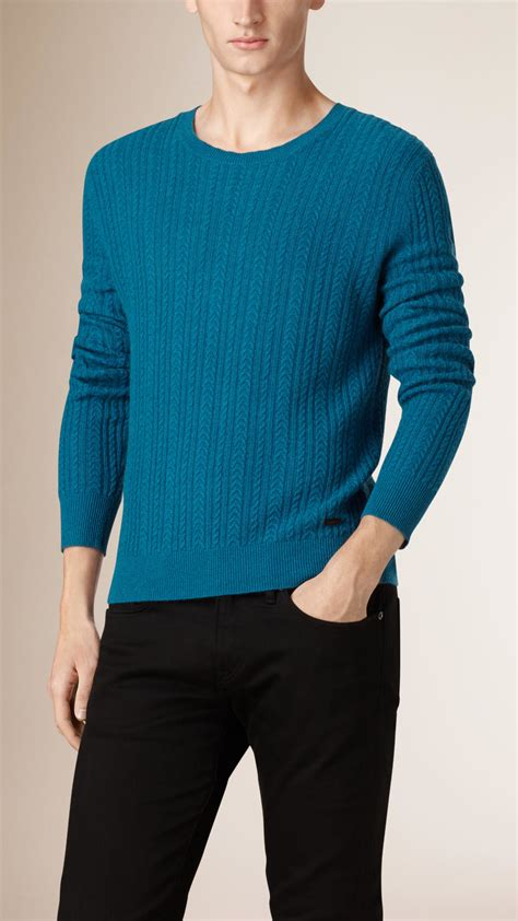 mens burberry sweater burberry aran knit sweater in blue for lyst