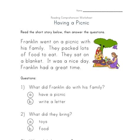 beginner reading comprehension worksheet   picnic