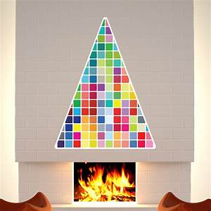 Sticker sapin de noel mosaique couleur stickers noel for Carrelage adhesif salle de bain avec led christmas tree