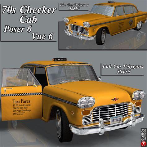 Checker Cab (poser, Obj, Vue) 3d Models Rpublishing