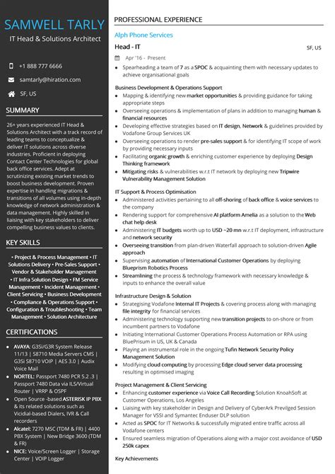 head solutions architect resume sample  hiration