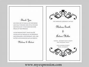 wedding program template bifold black vintage heart scroll With avery wedding program templates
