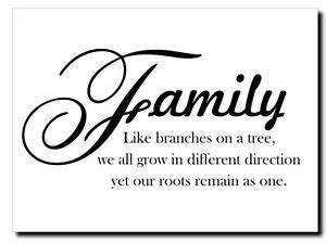 FAMILY LIKE BRANCHES ON A TREE Vinyl Wall Decal Art
